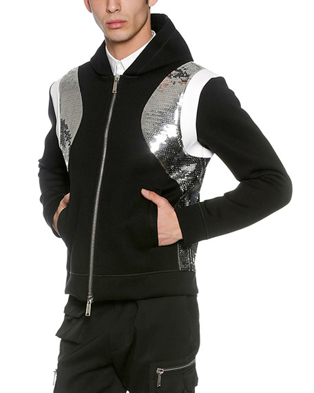 Dsquared2 Sequined Neoprene Zip-Front Hoodie, Black