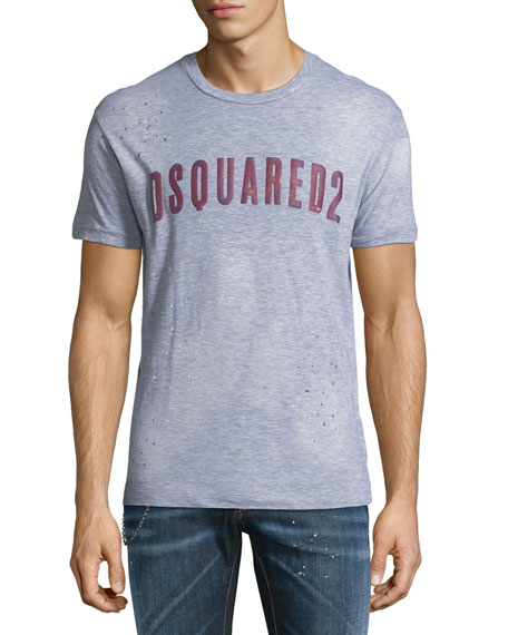 Dsquared2 Logo-Typographic Distressed T-Shirt