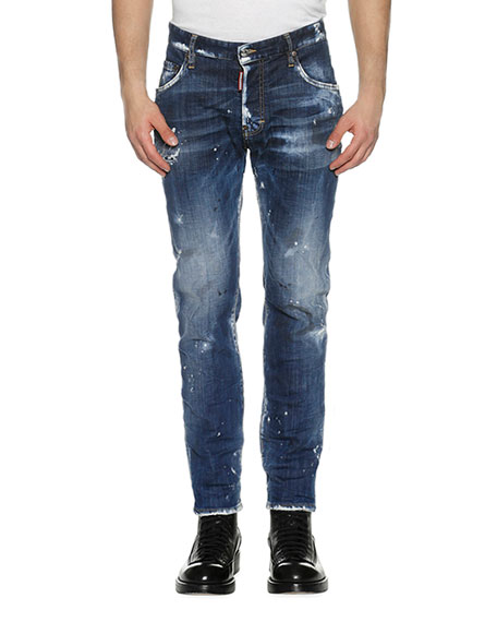 Distressed Skater Skinny Jeans, Day Dreams (Blue)