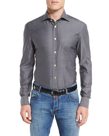 Kiton Royal Oxford Shirt, Gray
