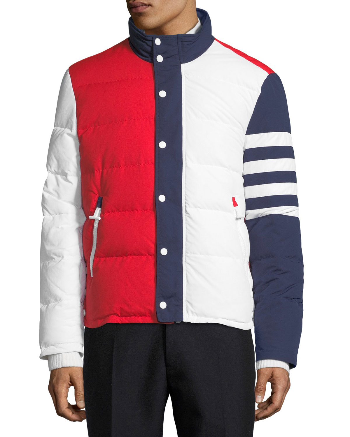 2f758b449 Tricolor Puffer Jacket with 4-Bar Stripes, Red/White/Blue