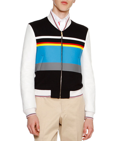 Ski Racer Striped Neoprene Jacket with Leather Sleeves, Navy