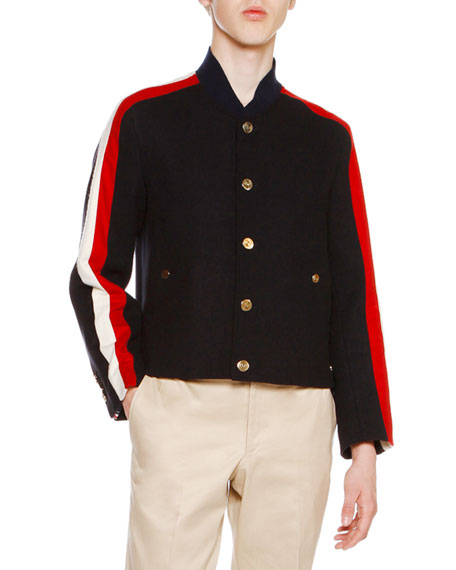 Thom Browne Wool Melton Striped-Sleeve Jacket, Navy