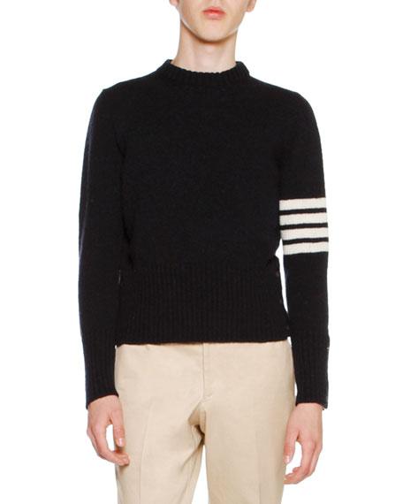 Thom Browne Wool Tweed Crewneck Sweater with 4-Bar