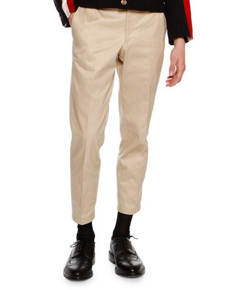 Cropped Twill Chino Pants, Khaki