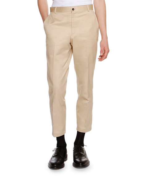 Thom Browne Cropped Twill Chino Pants, Khaki