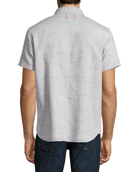 Henry Short-Sleeve Slub Cotton-Linen Shirt, Gray
