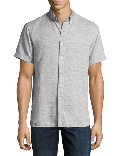 Henry Short-Sleeve Slub Cotton-Linen Shirt, Gray