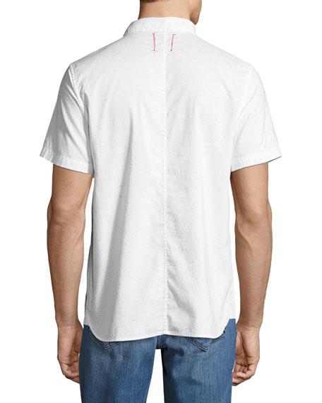Henry Short-Sleeve Slub Shirt, Light Gray