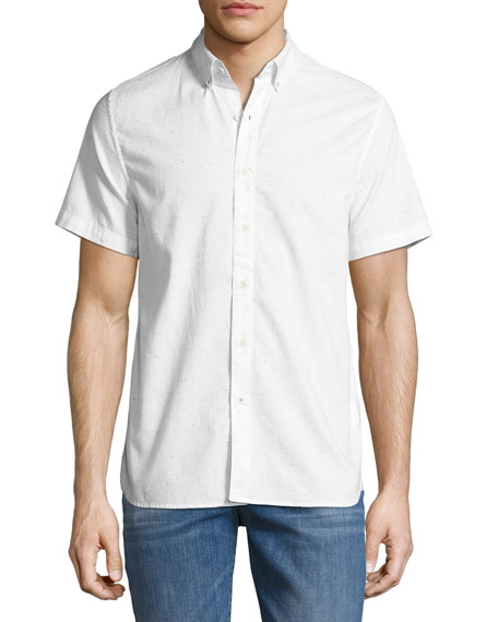 Men's Henry Short-Sleeve Slub Shirt, Light Gray