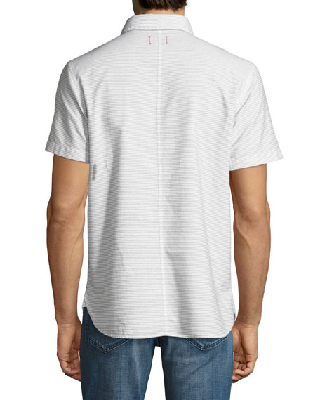 Henry Short-Sleeve Striped Slub Shirt, Beige/Light Gray