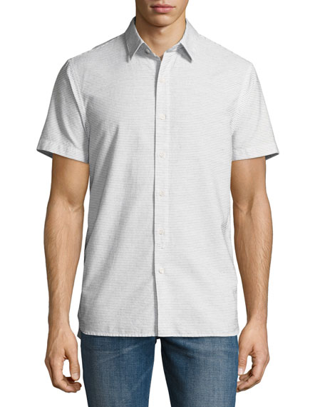 Henry Short-Sleeve Striped Slub Shirt, Beige/Light Gray