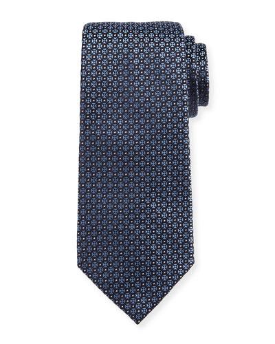 Mini-Cross Medallion Silk Tie, Blue