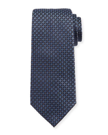 Giorgio Armani Mini-Cross Medallion Silk Tie, Blue