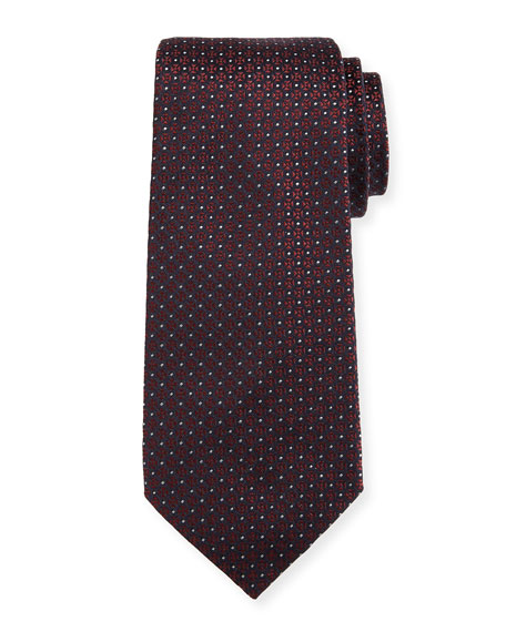 Giorgio Armani Mini-Cross Medallion Silk Tie, Red