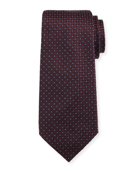Mini-Cross Medallion Silk Tie, Red