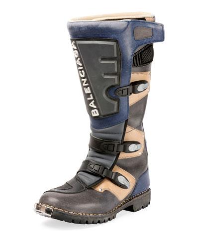 Rider Leather Moto Boot, Gray