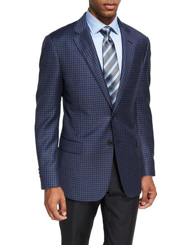Check Wool Sport Coat, Light Blue/Brown