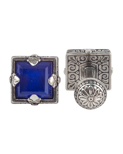 Hephaestus Sterling Silver & Lapis Cuff Links