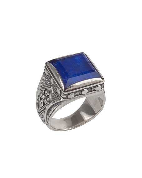 Men's Hephaestus Sterling Silver & Lapis Ring