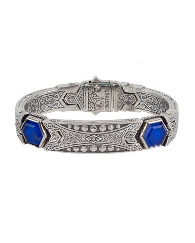 Men's Hephaestus Sterling Silver & Lapis Bracelet