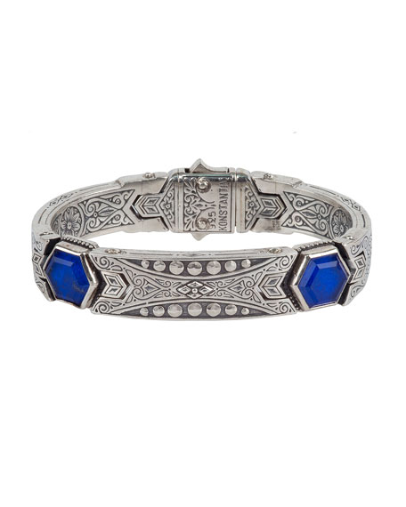 Konstantino Men's Hephaestus Sterling Silver & Lapis Bracelet