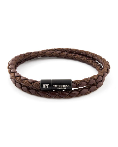 Tateossian Chelsea Double-Wrap Braided Bracelet, Brown