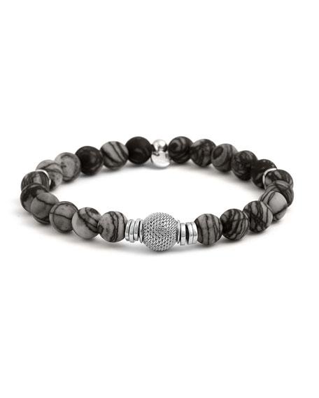 Tateossian Mens Stonehenge Bead Bracelet, Black