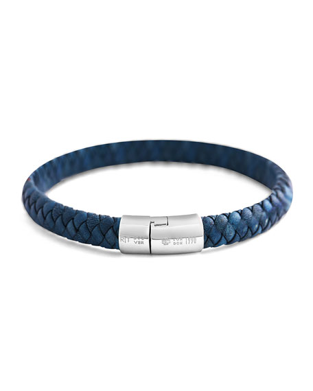 Men's Classic Braided Leather Cobra Bracelet