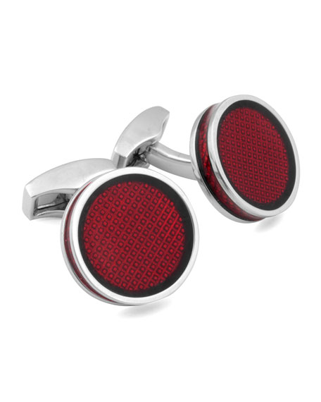Round Tablet Ice Cuff Links, Red