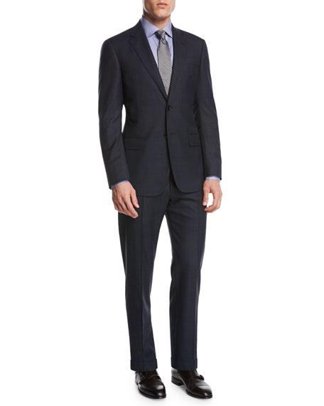 Giorgio Armani Tonal Plaid Wool Two-Piece Suit, Navy