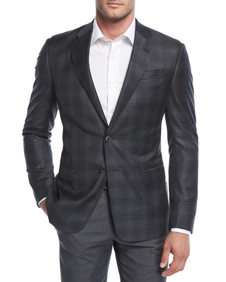 Giorgio Armani Degrade Plaid Wool Sport Coat