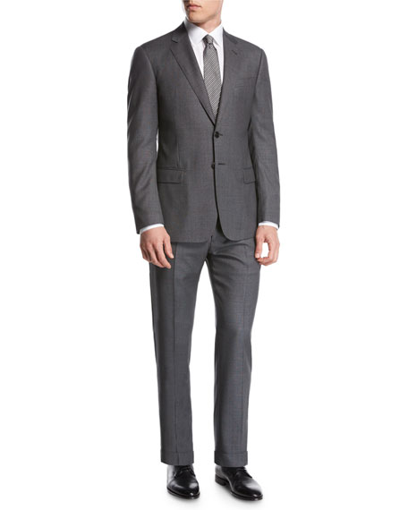 Birdseye Super 160s Wool Two-Piece Suit, Gray