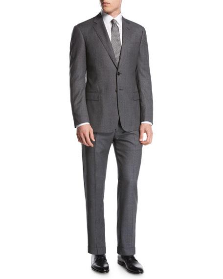 Birdseye Super 160s Wool Two-Piece Suit, Gray