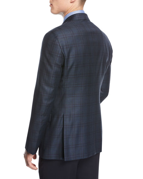 Soft Model Plaid Two-Button Sport Coat, Teal/Green/Blue