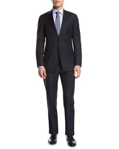 Pindot Plaid Wool Two-Piece Suit, Navy