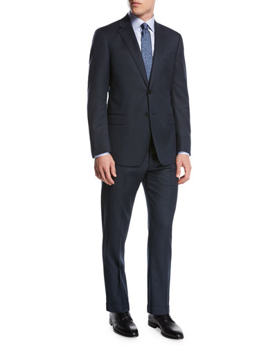 Pindot Birdseye Wool Two-Piece Suit, Blue
