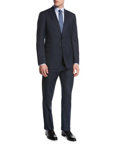 Pindot Birdseye Wool Two-Piece Suit, Blue