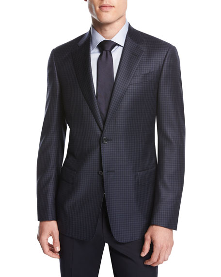 Giorgio Armani Small-Check Wool Two-Button Sport Coat, Navy