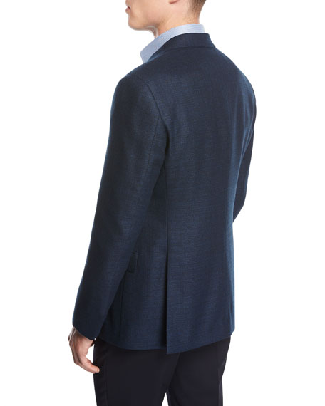 Textured Wool Two-Button Sport Coat, Blue