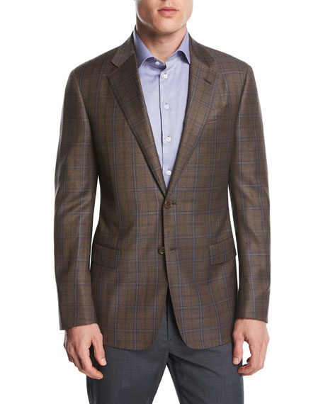 Giorgio Armani  Plaid Wool Two-Button Sport Coat, Light Rust Brown