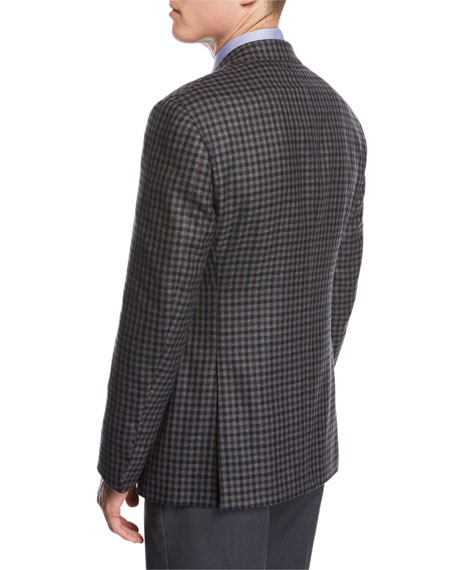 Check Wool-Cashmere Two-Button Sport Coat, Gray/Blue/Brown