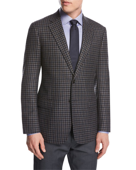 Giorgio Armani Check Wool-Cashmere Two-Button Sport Coat,