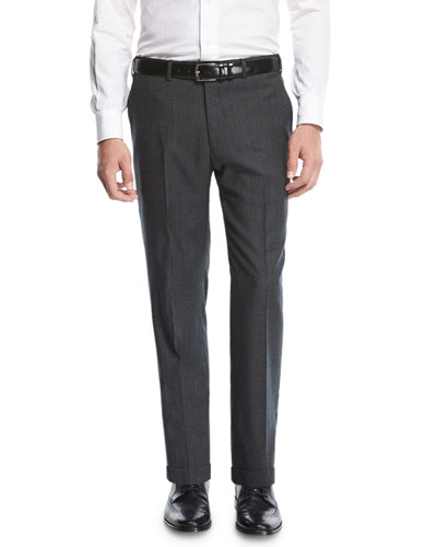 Wool Twill Trousers, Charcoal