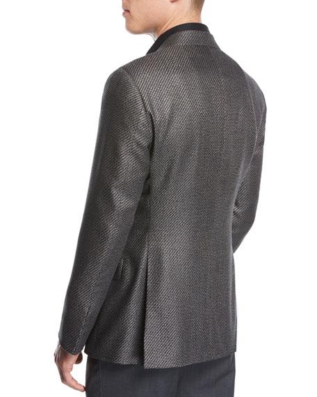 Chevron Jacquard Silk-Wool Two-Button Sport Coat, Black/White