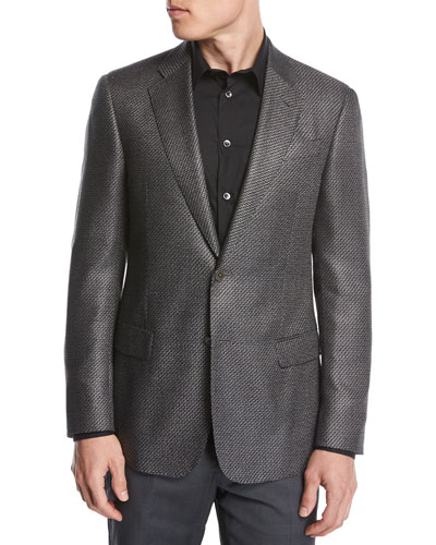 Chevron Jacquard Silk-Wool Two-Button Sport Coat, Black/White