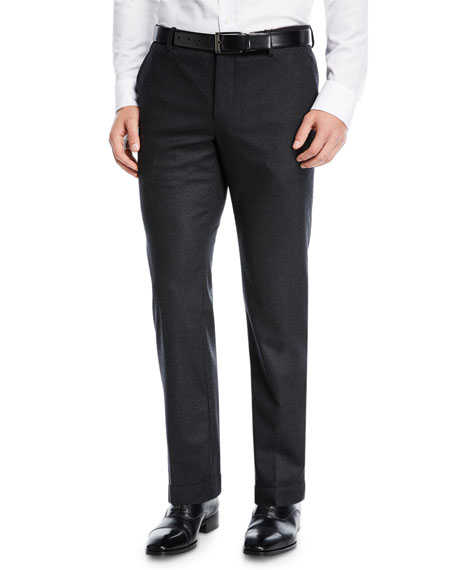 Solid Stretch-Wool Pants
