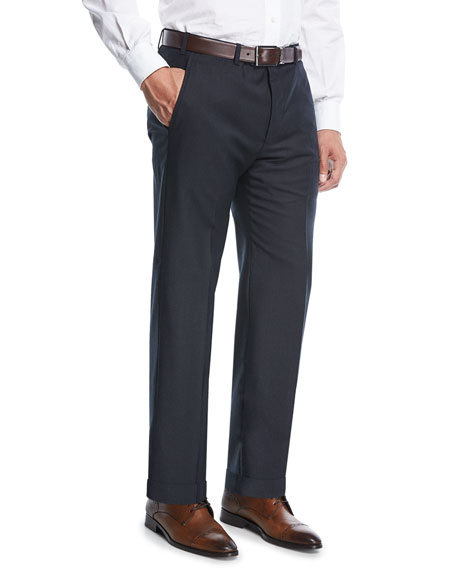 Giorgio Armani Solid Twill Wool Pants