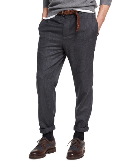 Brunello Cucinelli Para Wool Cargo Pants, Dark Gray