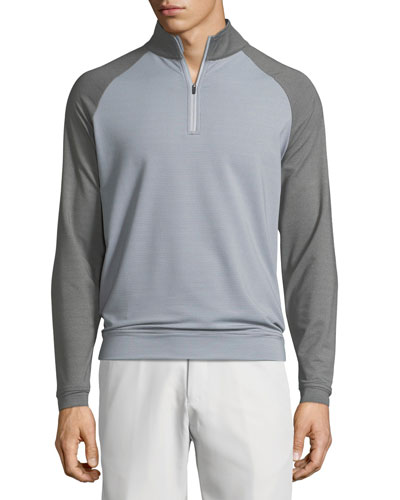 Crown Sport Perth Sugar-Stripe Quarter-Zip Sweater, Light Brown